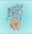 groundhog day gift card handdrawn smiling hamster vector image