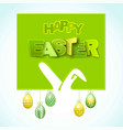 happy easter background with ears rabbit and eggs vector image vector image