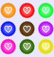 Heart sign icon Love symbol A set of nine vector image vector image