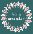 hello november wreath card vector image