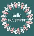 hello november wreath card vector image vector image