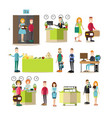 hotel people flat icon set vector image