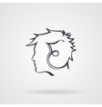 icon with the image of the male profile vector image vector image