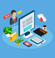 isometric business workplace composition vector image vector image