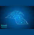 kuwait map with nodes linked by lines concept of vector image vector image