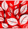 leaf drawing art pattern on a red vector image vector image
