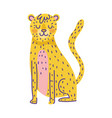 leopard animal cartoon doodle color on white vector image
