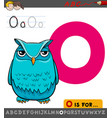 letter o worksheet with cartoon owl vector image vector image