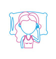 line woman with hairstyle desing sleeping vector image vector image