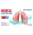 lungs diagnosis banner medical care concept vector image vector image