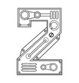 mechanical number 2 engraving vector image