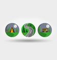nature vacation camping set icons logos vector image vector image