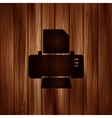 Printer web icon Wooden background vector image