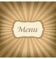 Retro Label With Menu vector image