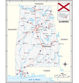 road map us state alabama with flag vector image vector image