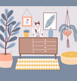 room interior with cat sitting on chest drawers vector image vector image