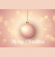 rose gold christmas background with hanging bauble vector image vector image