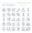set line icons communication service vector image