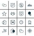 set of 16 eco icons includes guard tree clear vector image vector image