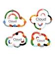 Set of flat linear design cloud logos vector image vector image