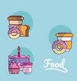 set of food cartoons vector image