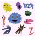 set of funny cute monsters colored blotch children vector image vector image