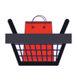 shopping basket with bag inside symbol blue lines vector image