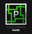 silver letter p logo symbol in the square maze vector image vector image