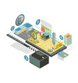 taxi future gadgets isometric infographics vector image