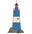 the funny old blue lighthouse vector image vector image