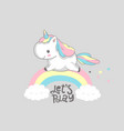 unicorn dream big rainbow magic poster design vector image