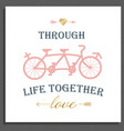 valentines day postcard with vintage tandem vector image vector image
