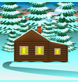 winter house in spruce forest vector image vector image