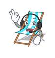 with headphone beach chair mascot cartoon vector image