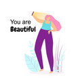 you are beautiful young happy woman make selfie vector image