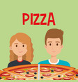 young couple with italian pizza vector image vector image