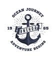 Retro nautical label with anchor sunburst ribbon vector image