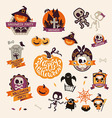 Set of Retro Vintage Happy Halloween Badges vector image