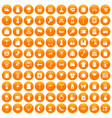 100 dress icons set orange vector image vector image
