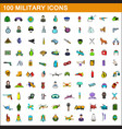 100 military icons set cartoon style vector image vector image