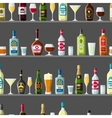 Alcohol drinks seamless pattern Bottles glasses vector image