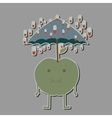 apple with umbrella and rain tablets vector image vector image