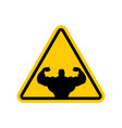 attention bodybuilding athlete on yellow triangle vector image vector image