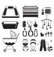 baby icons set monochrome