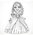 Beautiful princess in a ball gown and tiara sketch vector image vector image