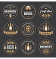 Beer emblems on black background vector image vector image