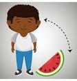 boy cartoon sliced watermelon vector image