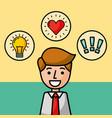 businessman portrait character happy idea love and vector image