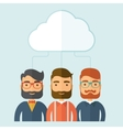 Businessmen under the cloud vector image