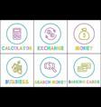 calculation exchange money set vector image vector image
